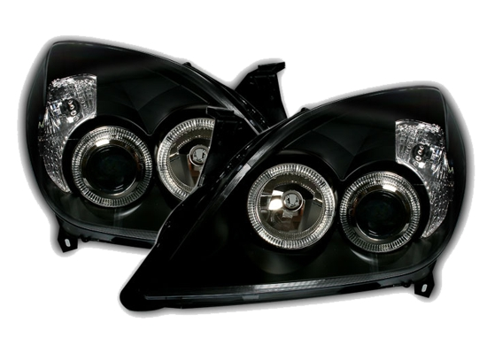depo angel eyes scheinwerfer set in schwarz f r opel. Black Bedroom Furniture Sets. Home Design Ideas