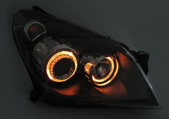 angel eyes scheinwerfer klarglas opel astra h h7 schwarz. Black Bedroom Furniture Sets. Home Design Ideas
