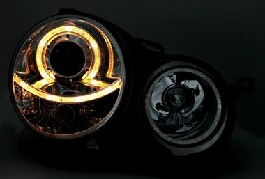 angel eyes scheinwerfer f r vw polo 9n in schwarz ad tuning. Black Bedroom Furniture Sets. Home Design Ideas