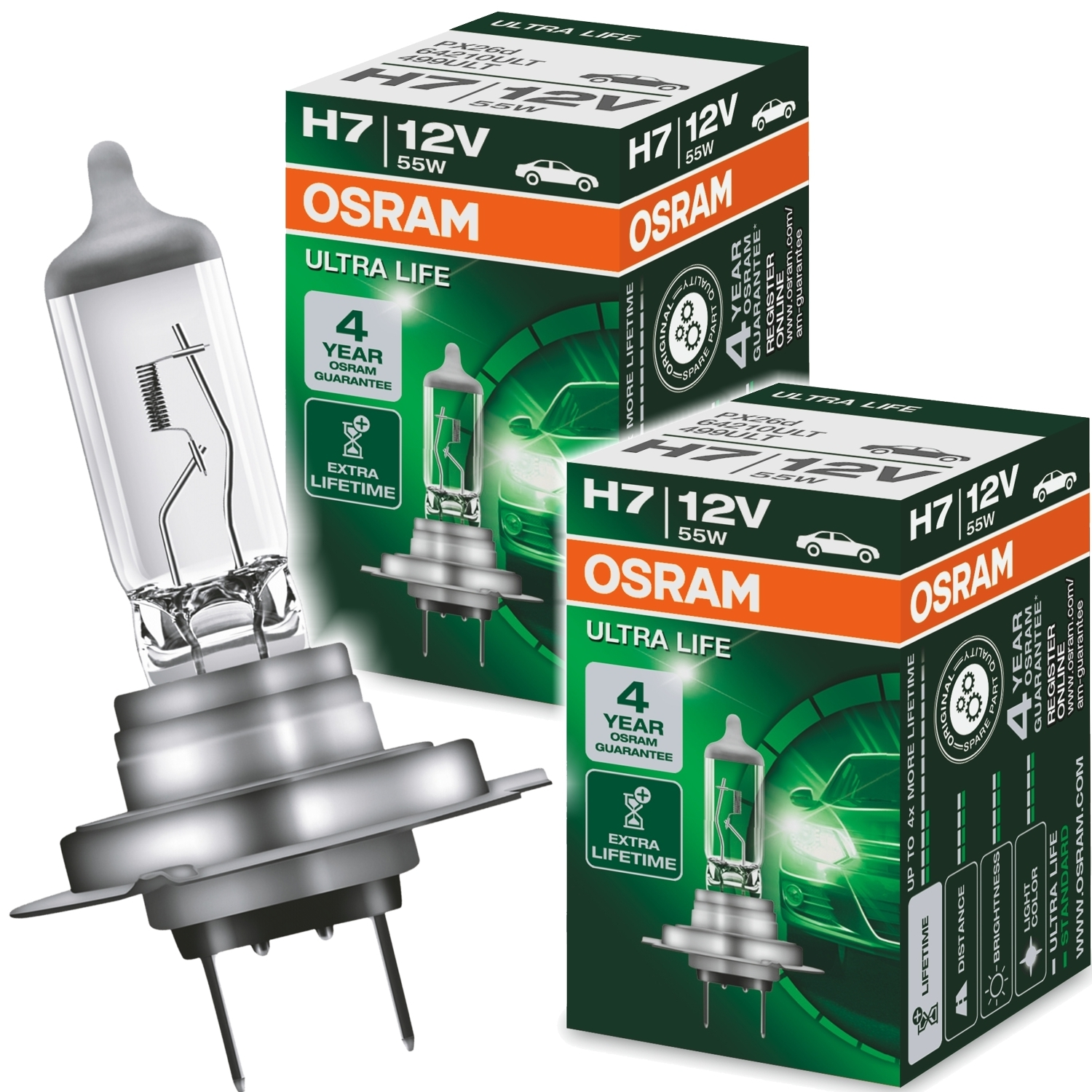 2x osram ultra life h7 12volt 55watt px26d ad tuning. Black Bedroom Furniture Sets. Home Design Ideas