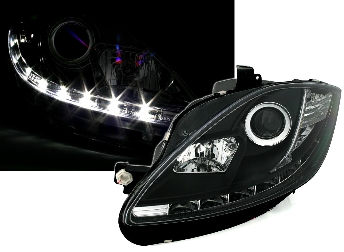 scheinwerfer mit led f r seat leon in schwarz ad tuning. Black Bedroom Furniture Sets. Home Design Ideas