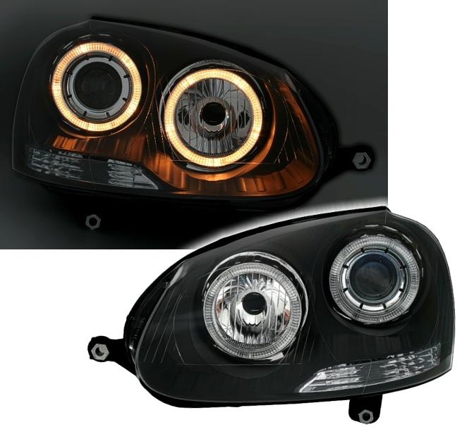 angel eyes scheinwerfer f r vw golf 5 in schwarz ad tuning. Black Bedroom Furniture Sets. Home Design Ideas