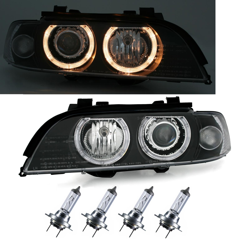 angel eyes scheinwerfer f r 5er bmw e39 in schwarz ad tuning. Black Bedroom Furniture Sets. Home Design Ideas