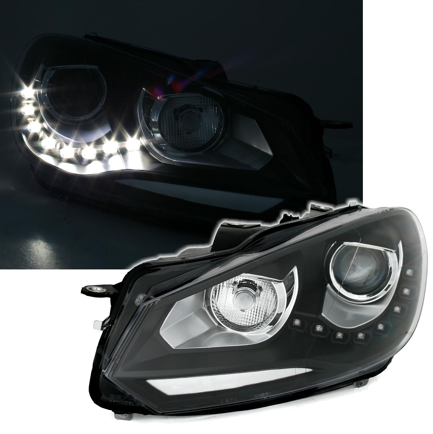 scheinwerfer set f r vw golf 6 mit tfl in schwarz ad tuning. Black Bedroom Furniture Sets. Home Design Ideas