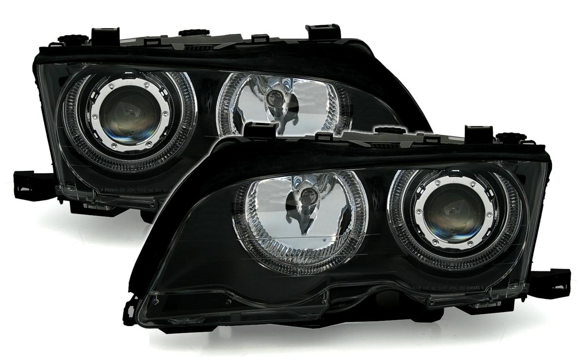 angel eyes scheinwerfer f r 3er bmw e46 in schwarz ad tuning. Black Bedroom Furniture Sets. Home Design Ideas