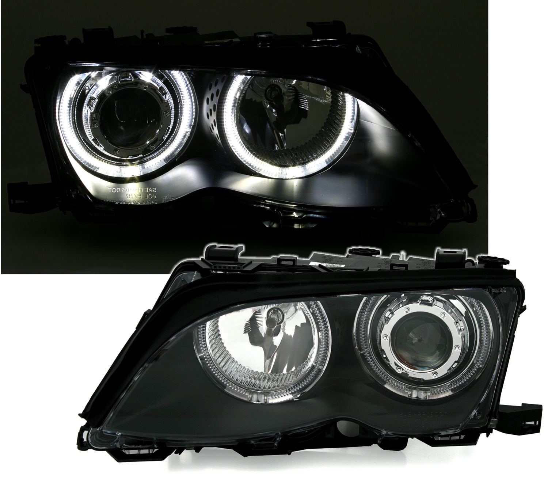 angel eyes scheinwerfer f r 3er bmw e46 limo ad tuning. Black Bedroom Furniture Sets. Home Design Ideas