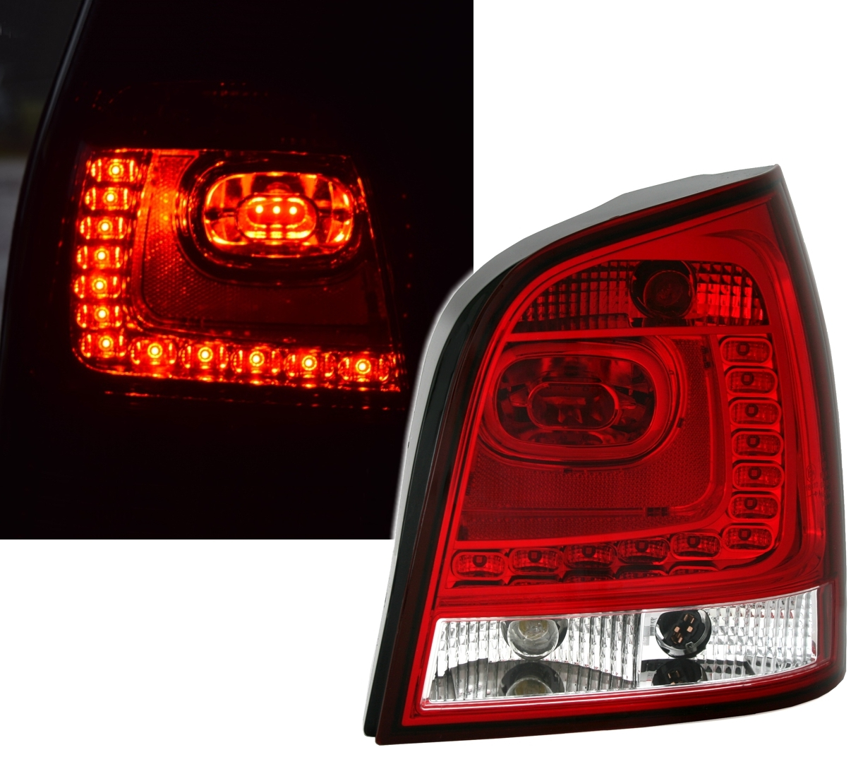 led r ckleuchten set f r vw polo 9n in rot wei ad tuning