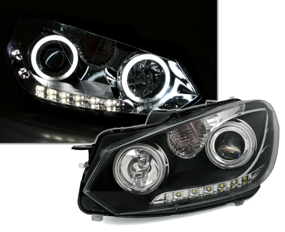 ccfl angel eyes scheinwerfer mit tfl f r vw golf 6 ad tuning. Black Bedroom Furniture Sets. Home Design Ideas